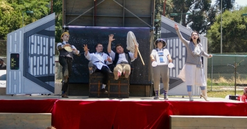 Mr Meekins, Percival Perkins, Samuel Peaches, Thumper, and Princess Gwen in a scene set in space
