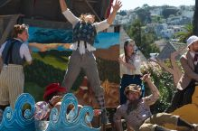 Thumper jumps high to escape the Dingo, played by Samuel Peaches in O BEST BELOVED at Noe Valley, August 2014. Photo by Tim Guydish.