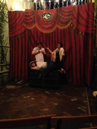 The Nurse and Lady Capulet (Mr Peaches and Mdme Directrix) express their woe at the untimely demise of Juliet, played by Princess Gwen