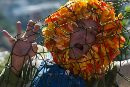 Guy Hank as the Lion in AESOP AMUCK. Photo by Tim Guydish.
