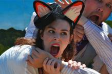 Princess Gwen as a hungry fox in AESOP AMUCK. Photo by Tim Guydish.
