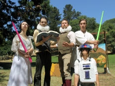 """The Players co-exist in two worlds: Princess Gwen (Marlene Yarosh), Guy Hank (Paul Collins) and Thumper (Joan Howard) are ready for their roles as Princess Gweia, Lank Guywalker and Thump2D2 in """"Space Wars,"""" while Mr Peaches (Casey Robbins) and Meekins (Sam Bertken) rehearse their monologues for """"Romeo and Juliet."""" Photo by Rebecca Longworth."""
