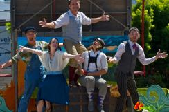 The Peripatetic Players introducing AESOP AMUCK at Noe Valley Town Square, August 2016. Photo by Tim Guydish.