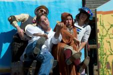Meekins, Guy Hank, Samuel Peaches and Thumper in a scene from SHAKESPEARE OR SPACE WARS. Photo by Tim Guydish.