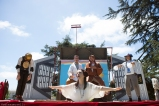 Princess Gwen (Marlene Yarosh) as Princess Gweia delivers a surprise message from the trap door in Shakespeare or Space Wars. With Meekins (Sam Bertken) as Meek-3PO, Percival Perkins (Soren Santos) as Perk Piewalker, Samuel Peaches (Casey Robbins) as Obi-Wan Peachobi, and Thumper (Joan Howard) as Thump2-D2. Photo by Serena Morelli.