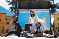 Meekins (Sam Bertken) as Romeo, Princess Gwen (Marlene Yarosh) as Juliet, and Thumper (Joan Howard) as Tybalt in the very nearly tragic ending of Shakespeare or Space Wars. Photo by Serena Morelli.
