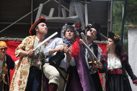 Evil Pirates aboard their evil pirate ship: Guy Hank (Paul Collins) as Captain Long Johns Danpier, Samuel Peaches (Casey Robbins) as Lord Trelawney, Meekins (Sam Bertken) as Bloody Lancaster and Princess Gwen (Marlene Yarosh) as Lady Blackhat. Photo by Soren Santos