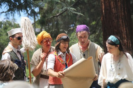 Meekins (Sam Bertken), Madame D. (Rebecca Longworth), Thumper (Joan Howard), Guy Hank (Paul Collins) and Princess Gwen (Marlene Yarosh) consult a treasure map. Photo by Soren Santos.