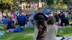 """A small pirate looks toward the Good Ship Peripatetic during """"Shiver We Timbers"""" at Lincoln Park, Alameda, 2018."""