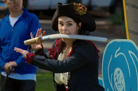 Princess Gwen as the evil Lady Blackhat, about to climb aboard the Good Ship Peripatetic. Photo by Tim Guydish.